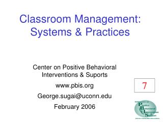 Classroom Management: Systems  Practices