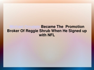 Michael Ornstein Became The  Promotion Broker Of Reggie Shru