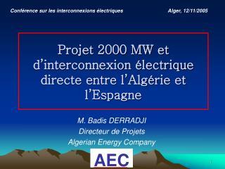 Projet 2000 MW et d interconnexion  lectrique directe entre l Alg rie et l Espagne