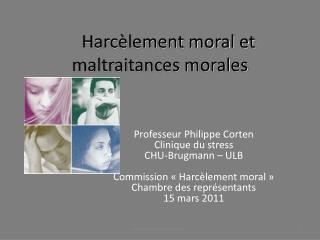 Harc lement moral et maltraitances morales
