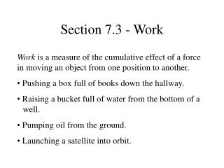 Section 7.3 - Work