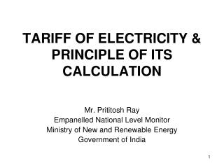 TARIFF OF ELECTRICITY  PRINCIPLE OF ITS CALCULATION