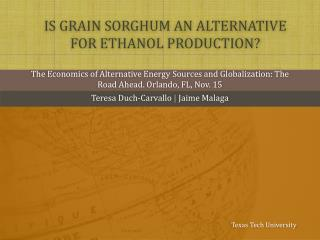 Is grain sorghum an alternative for ethanol production