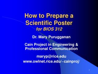 How to Prepare a Scientific Poster for BIOS 312