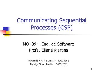 Communicating Sequential Processes CSP