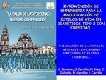 INTERVENCI N DE ENFERMERIA PARA LA MODIFICACI N DE ESTILOS DE VIDA EN DIABETICOS TIPO 2 CON OBESIDAD.