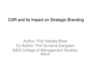 CSR and Its Impact on Strategic Branding