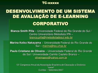 TC-xxxxx  DESENVOLVIMENTO DE UM SISTEMA DE AVALIA  O DE E-LEARNING CORPORATIVO