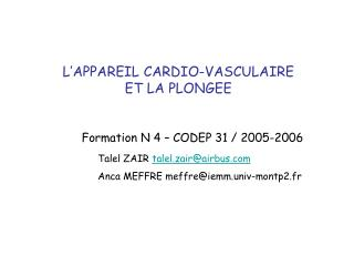 L APPAREIL CARDIO-VASCULAIRE  ET LA PLONGEE