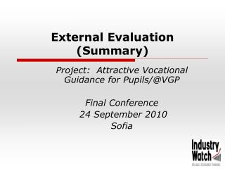 External Evaluation (Summary)