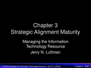 Chapter 3 Strategic Alignment Maturity