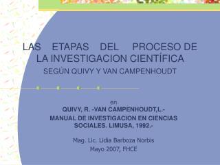 LAS    ETAPAS    DEL     PROCESO DE LA INVESTIGACION CIENT FICA  SEG N QUIVY Y VAN CAMPENHOUDT