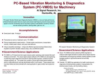 PC-Based Vibration Monitoring  Diagnostics System PC-VMDS for Machinery  AI Signal Research, Inc. Huntsville, AL