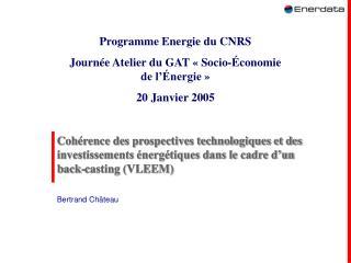 Coh rence des prospectives technologiques et des investissements  nerg tiques dans le cadre d un back-casting VLEEM