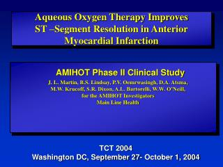Aqueous Oxygen Therapy Improves  ST  Segment Resolution in Anterior Myocardial Infarction