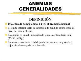 ANEMIAS GENERALIDADES