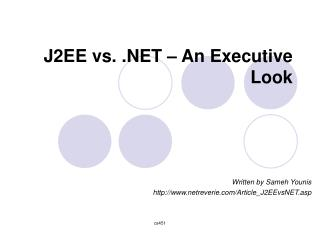 J2EE vs.    An Executive Look