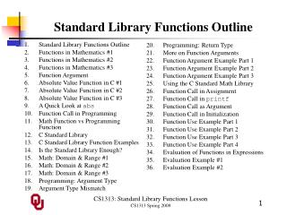 Standard Library Functions Outline