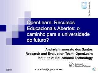 OpenLearn: Recursos Educacionais Abertos: o caminho para a universidade do futuro
