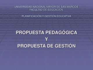 UNIVERSIDAD NACIONAL MAYOR DE SAN MARCOS FACULTAD DE EDUCACI N  PLANIFICACI N Y GESTI N EDUCATIVA