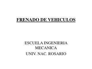 FRENADO DE VEHICULOS