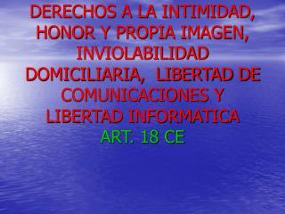 DERECHOS A LA INTIMIDAD, HONOR Y PROPIA IMAGEN, INVIOLABILIDAD DOMICILIARIA,  LIBERTAD DE COMUNICACIONES Y LIBERTAD INFO