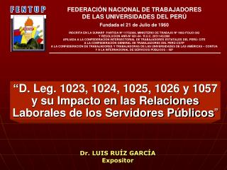 D. Leg. 1023, 1024, 1025, 1026 y 1057 y su Impacto en las Relaciones Laborales de los Servidores P blicos