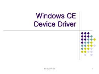 Windows CE Device Driver