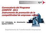 Convocatoria del Programa COMPITE  2011  Instrumento de promoci n de la competitividad de empresas vascas