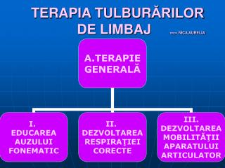 TERAPIA TULBURARILOR               DE LIMBAJ     PROF. NICA AURELIA