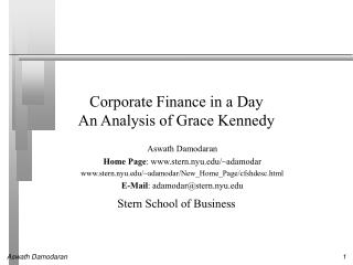 Corporate Finance in a Day An Analysis of Grace Kennedy