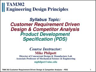 Product Development Specification PDS