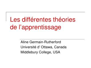 Les diff rentes th ories de l apprentissage