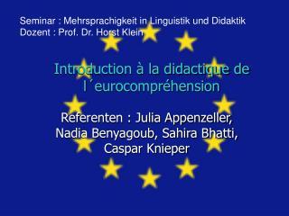 Introduction   la didactique de l eurocompr hension