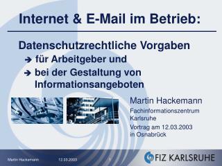 Datenschutzrechtliche Vorgaben    f r Arbeitgeber und     bei der Gestaltung von        Informationsangeboten