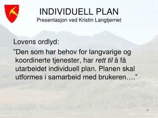 INDIVIDUELL PLAN Presentasjon ved Kristin Langtjernet