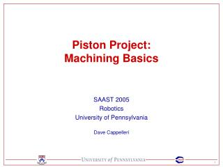 Piston Project: Machining Basics