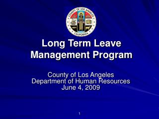 County of Los Angeles Department of Human Resources June 4, 2009