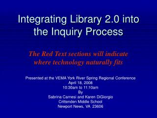 Integrating Library 2.0 into the Inquiry Process