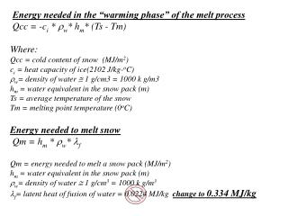 Energy needed in the  warming phase  of the melt process  Qcc  -ci  w hm Ts - Tm   Where: Qcc  cold content of snow  MJ