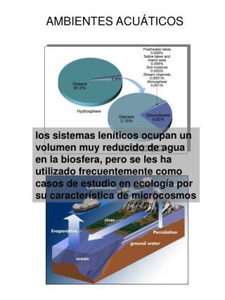 Los sistemas len ticos ocupan un volumen muy reducido de agua en la biosfera, pero se les ha utilizado frecuentemente co