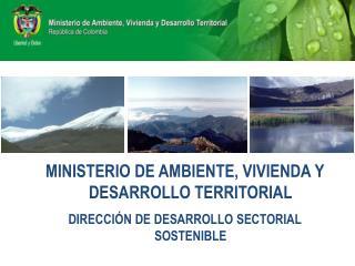 MINISTERIO DE AMBIENTE, VIVIENDA Y DESARROLLO TERRITORIAL DIRECCI N DE DESARROLLO SECTORIAL SOSTENIBLE
