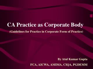 CA Practice as Corporate Body