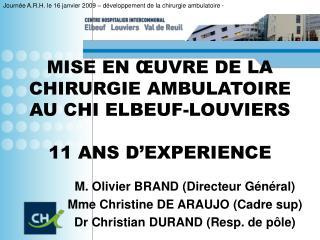 MISE EN  UVRE DE LA  CHIRURGIE AMBULATOIRE AU CHI ELBEUF-LOUVIERS  11 ANS D EXPERIENCE