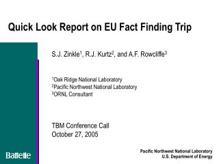 Quick Look Report on EU Fact Finding Trip