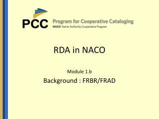 RDA in NACO
