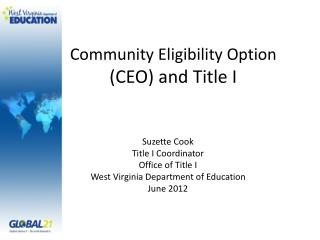 Community Eligibility Option CEO and Title I