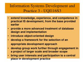 Information Systems Development and Practice 3 - UQI116S3