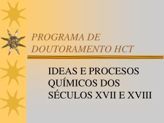 PROGRAMA DE DOUTORAMENTO HCT