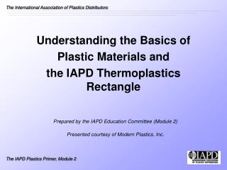 Understanding the Basics of  Plastic Materials and  the IAPD Thermoplastics Rectangle